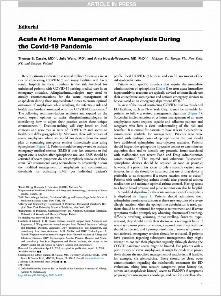 """Click to read """"Acute At Home Management of Anaphylaxis During the COVID-19 Pandemic"""" by FARE"""
